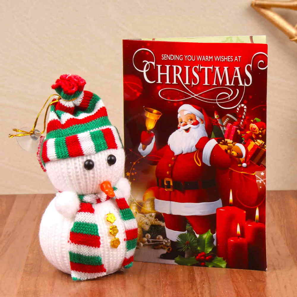 Christmas Decorations-Cute Snow Man with Christmas Card