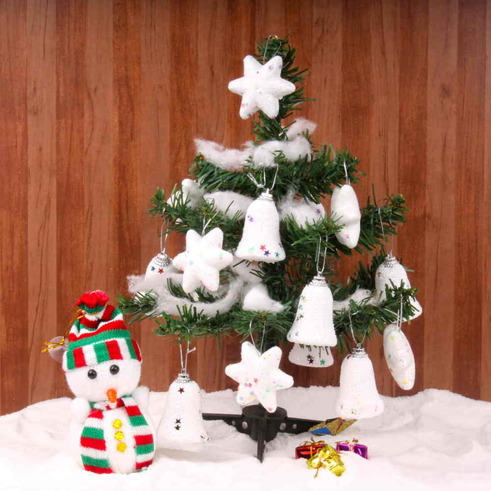 Christmas Decorations-Snowy Christmas Tree With Snow Man