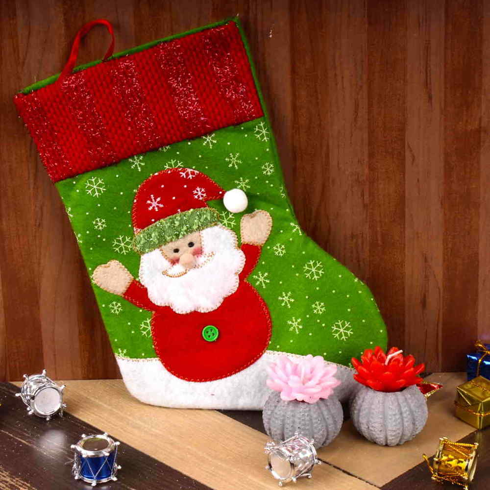 Santa Stockings with Floral Candles