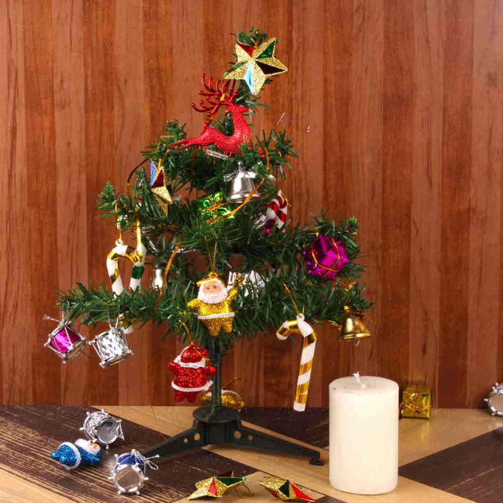 Artificial Decorating Christmas Tree with Candle