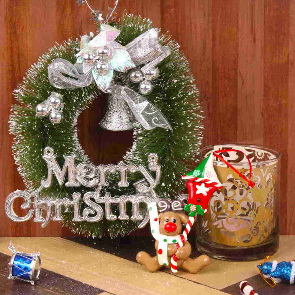 Merry Christmas Wreath with Designer Shadow Candle and Cute Toy Hanging