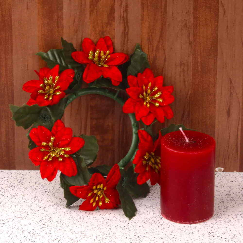 Floral Wreath and Pillar Candle