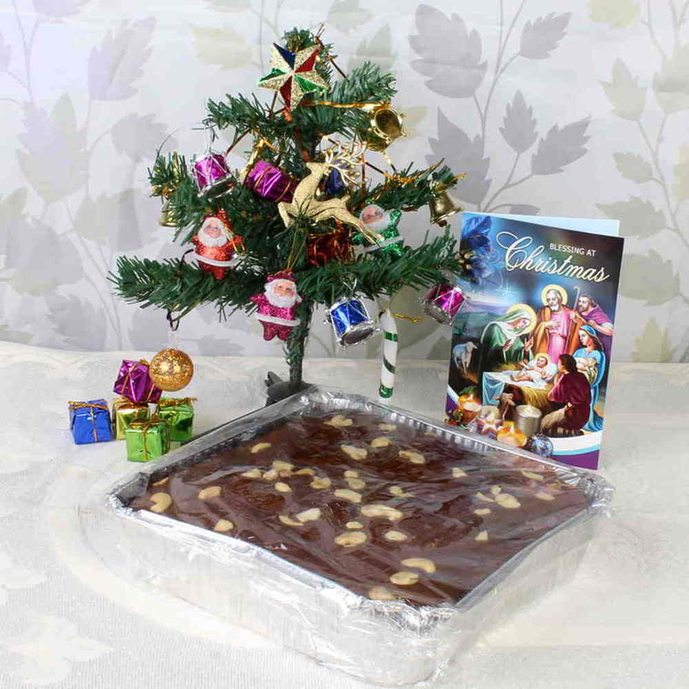 Plum Cake and Decorative Tree with Card