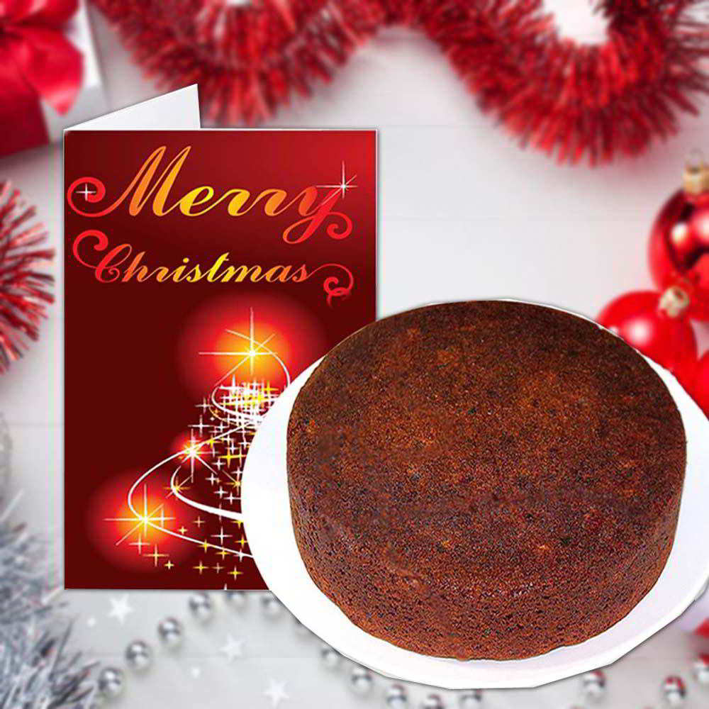 Cakes-Merry Christmas Greeting Card and Plum Cake