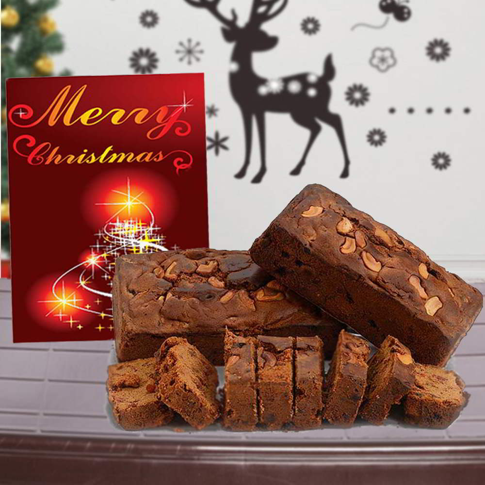 Cakes-Cashew Plum Cake with Merry Christmas Greeting Card