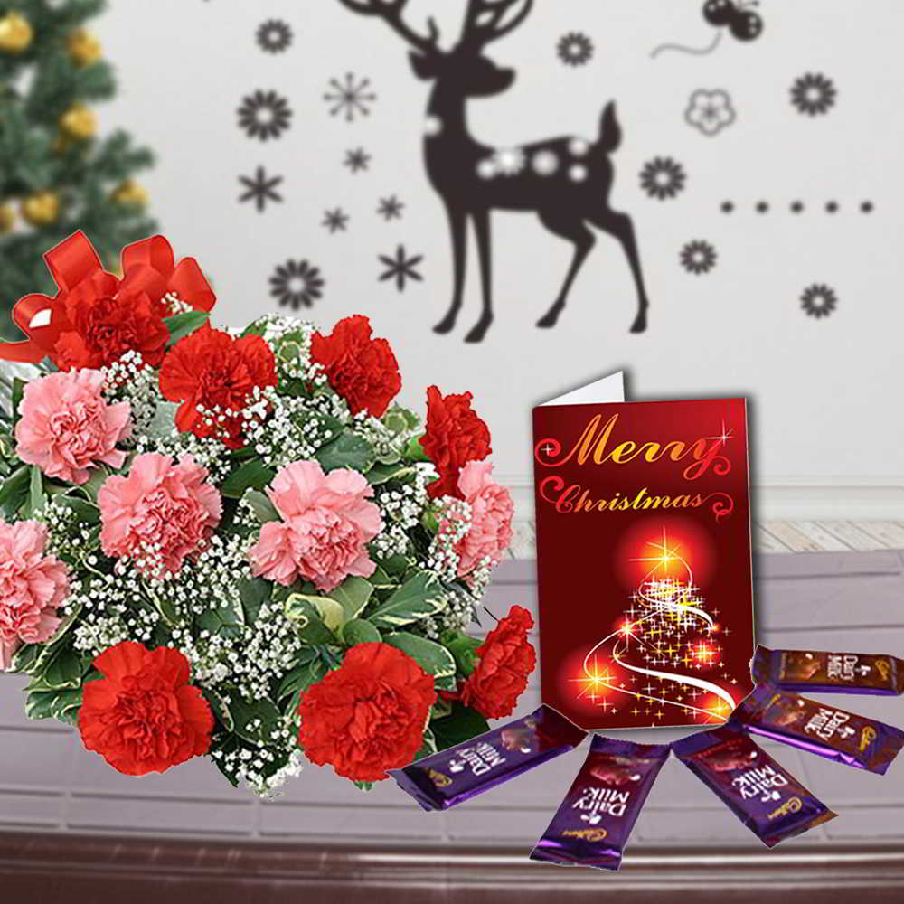 Carnation Bouquet with Cadbury Dairy Milk Chocolates and Greeting Card Combo