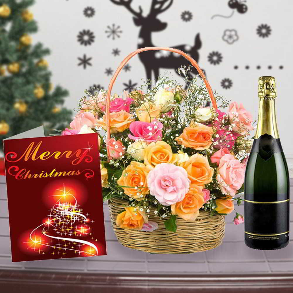 Roses Arrangement with Wine and Christmas Card Combo