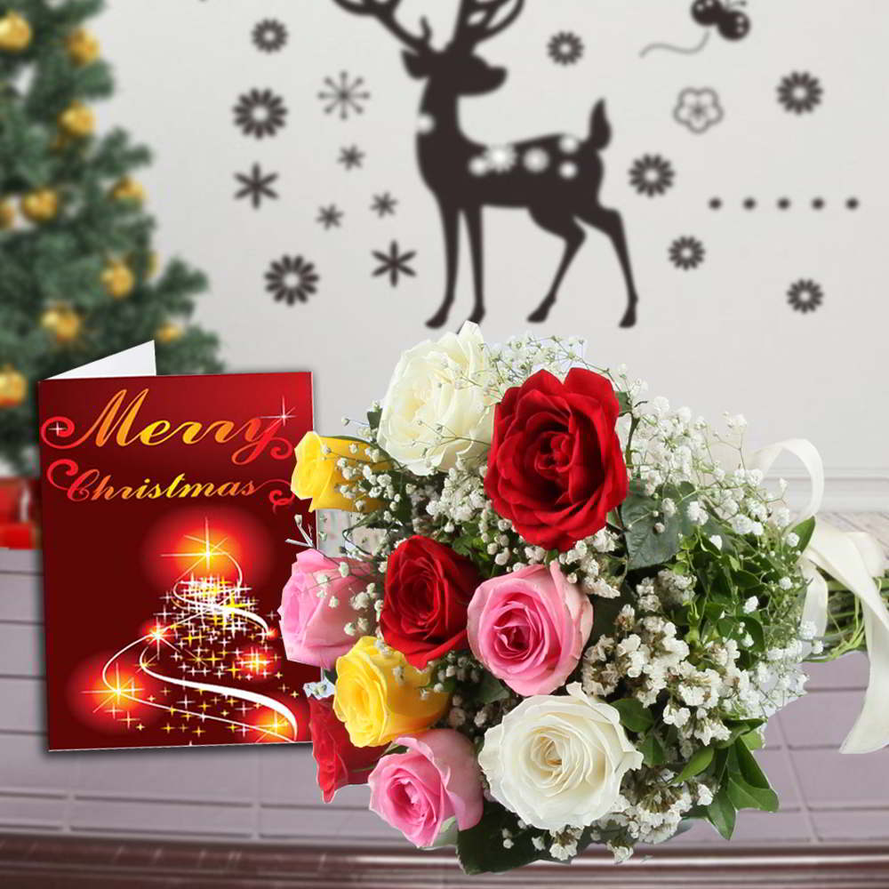 Fresh Flowers-12 Mix Roses Bouquet and Merry Christmas Greeting Card