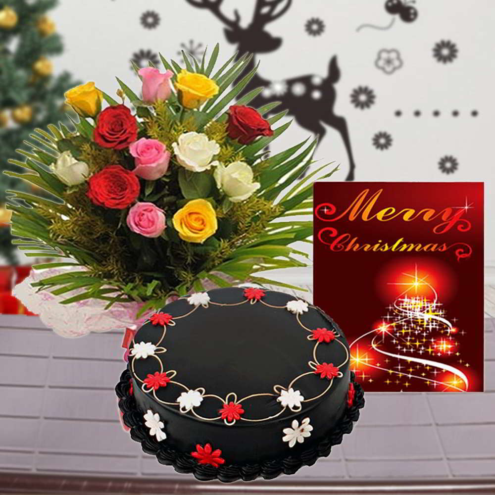 Chocolate Cake with Roses Bouquet and Christmas Card