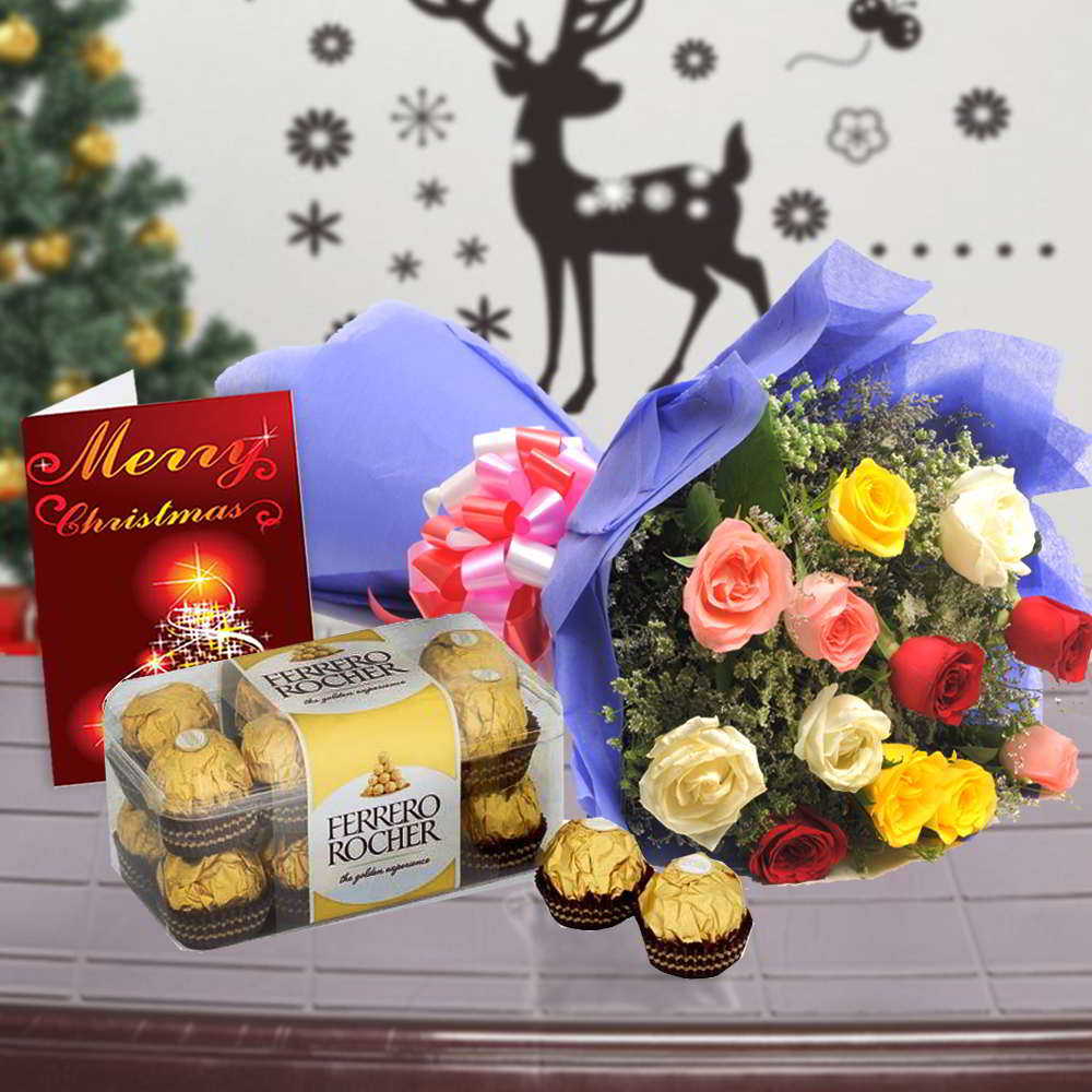 Rose Bouquet with Ferrero Rocher Chocolate and Christmas Card