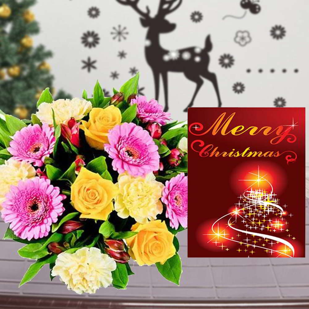 Colorful Mix Flowers Bouquet with Merry Christmas Greeting Card