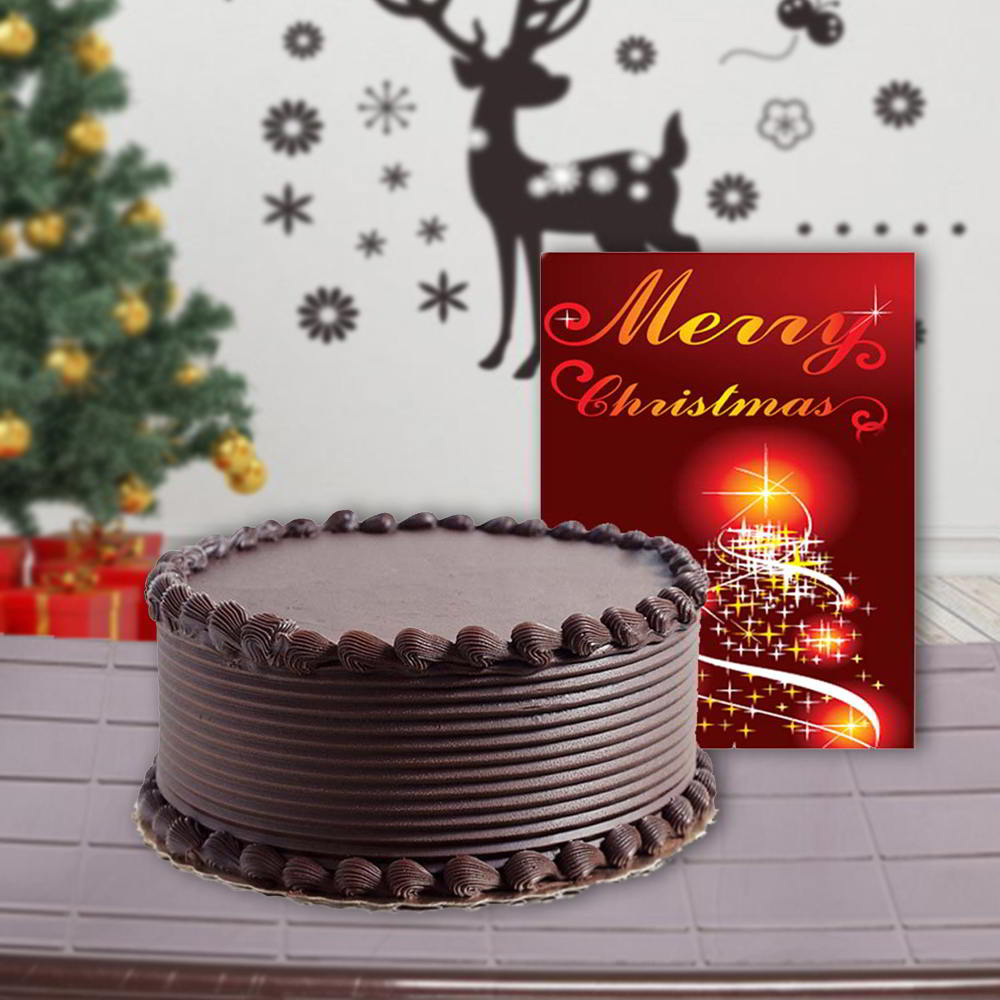 Cakes-One Kg Chocolate Cake and Christmas Greeting Card