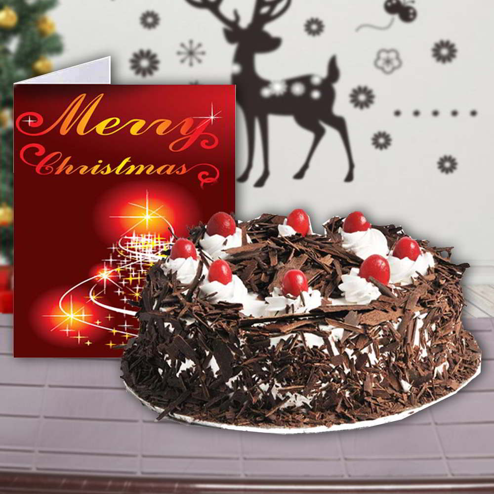 Cakes-Black Forest Cake with Merry Christmas Greeting Card