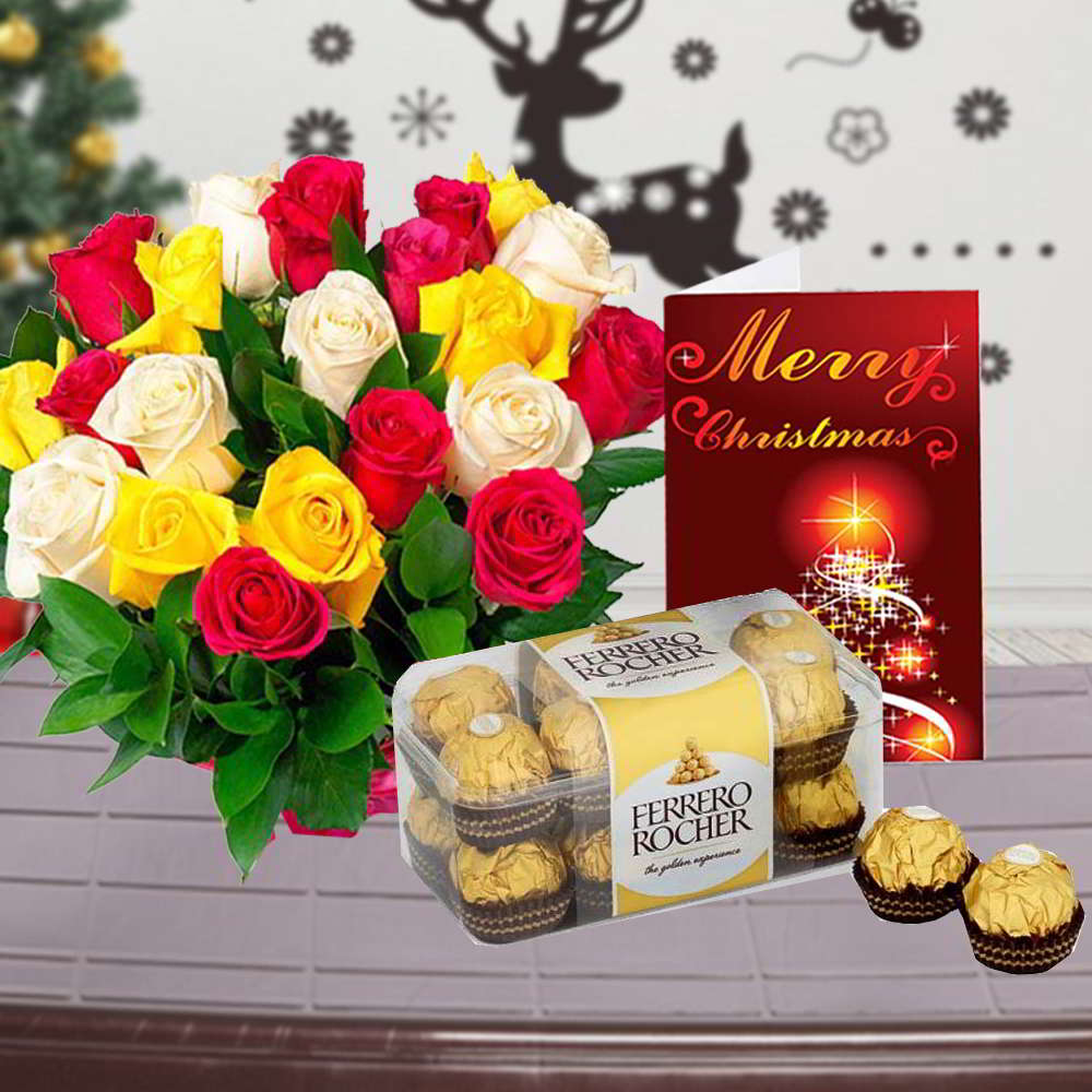 Mix Roses Bouquet with Ferrero Rocher Chocolate Box and Christmas Card