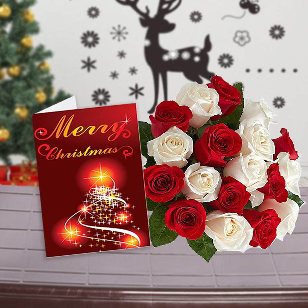 Red and White Roses Bouquet with Christmas Greeting Card