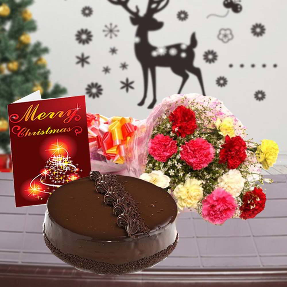 Truffle Cake with Mix Carnations Bouquet and Christmas Greeting Card