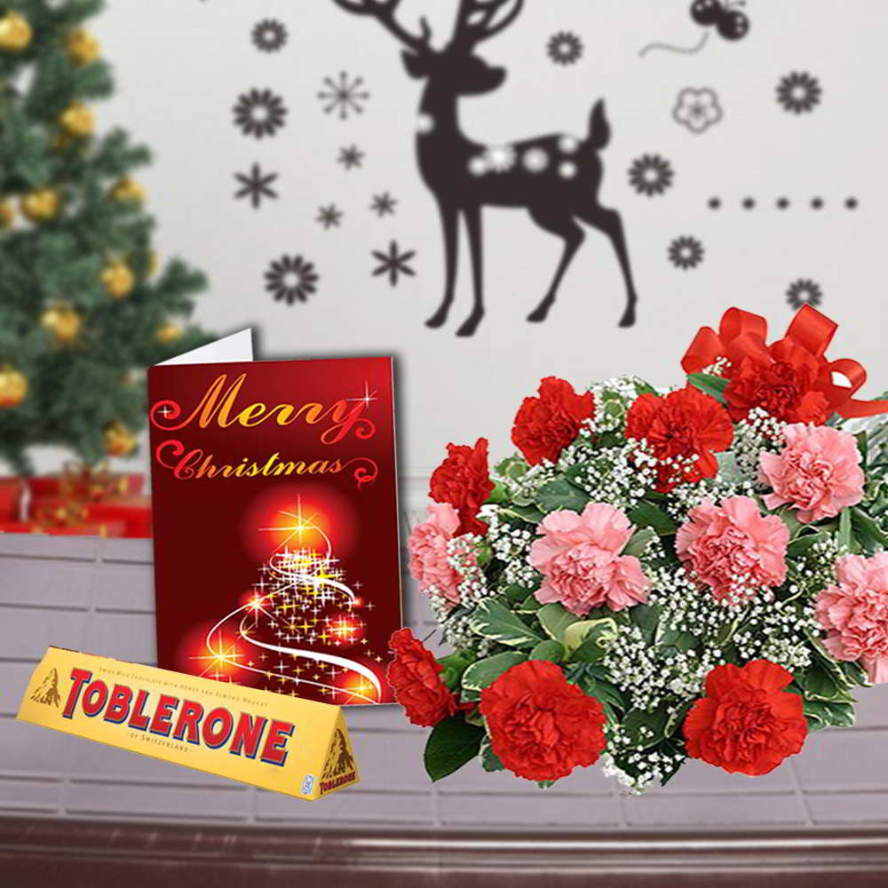 Mix Carnations Bouquet with Toblerone Chocolates and Christmas Greeting Card
