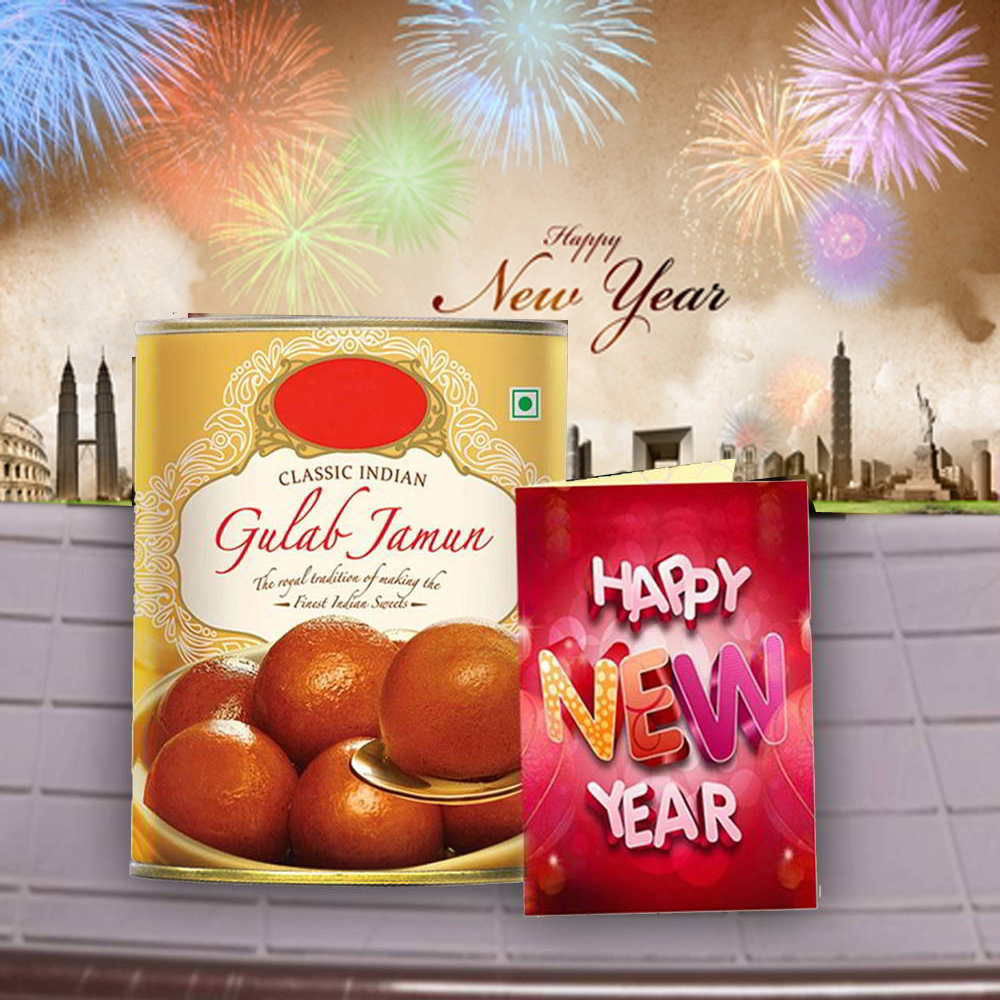 Gulab Jamun Sweets and New Year Greeting Card
