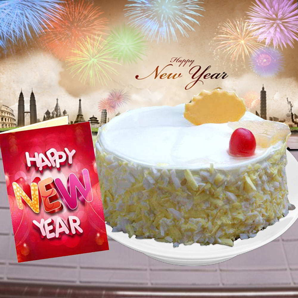 1/2 Kg Pineapple Cake and New Year Greeting Card