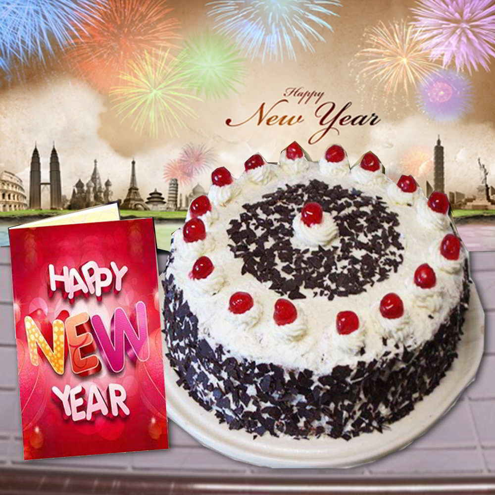 Black Forest Cake and New Year Greeting Card