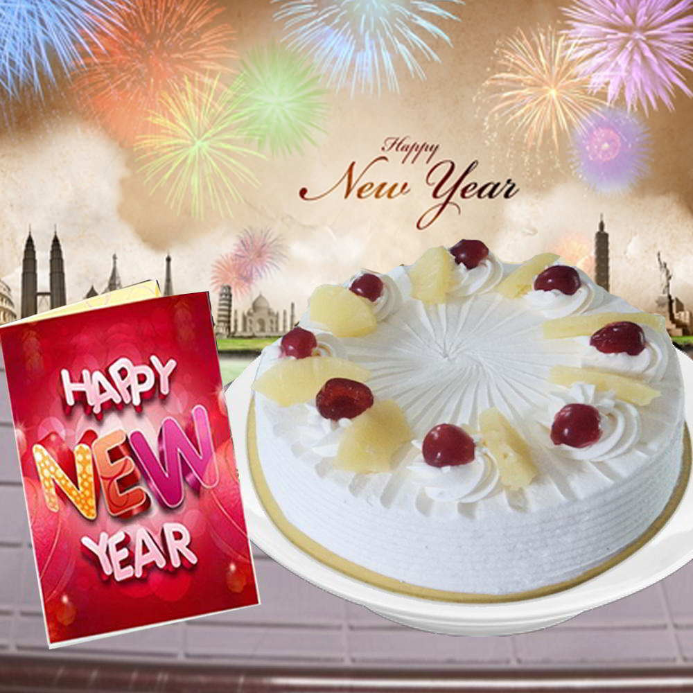 New Year Greeting Card and Round Eggless Pineapple Cake