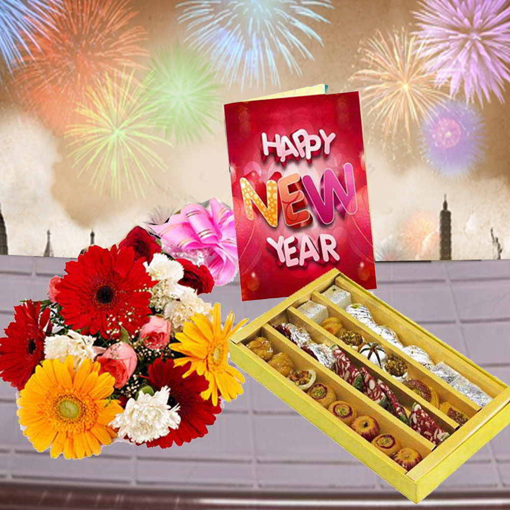 Assorted Sweets with Mix Flowers Bouquet and New Year Card