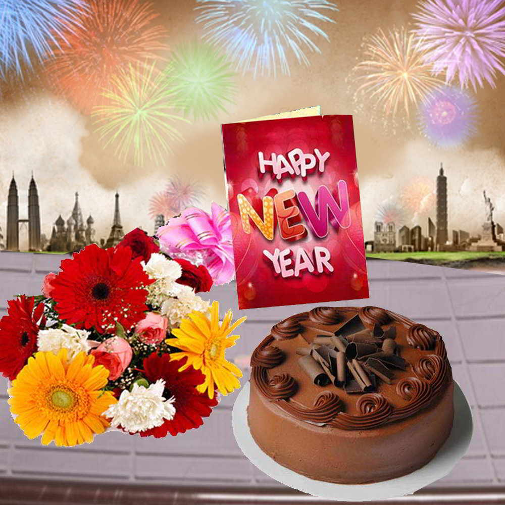 Mix Flowers Bouquet with Chocolate Truffle Cake and New Year Card