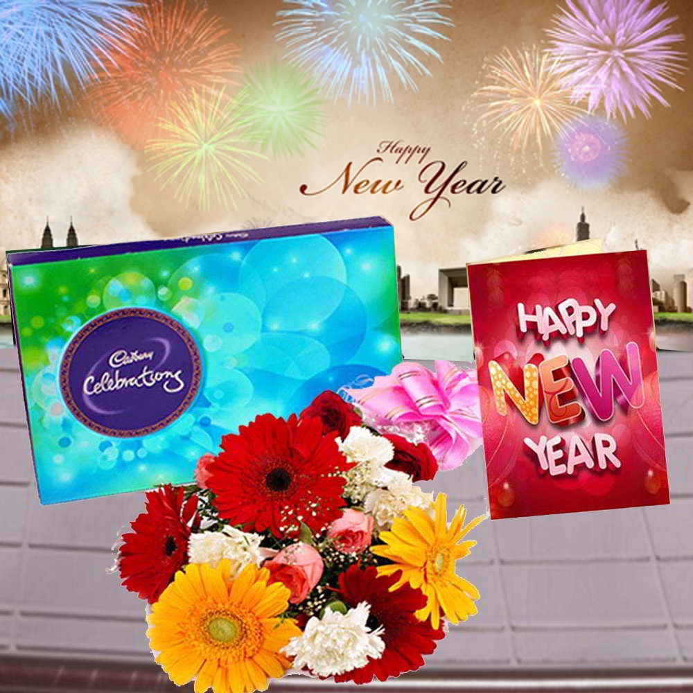 Cadbury Celebration Chocolates with Mix Flowers Bouquet and New Year Greeting Card