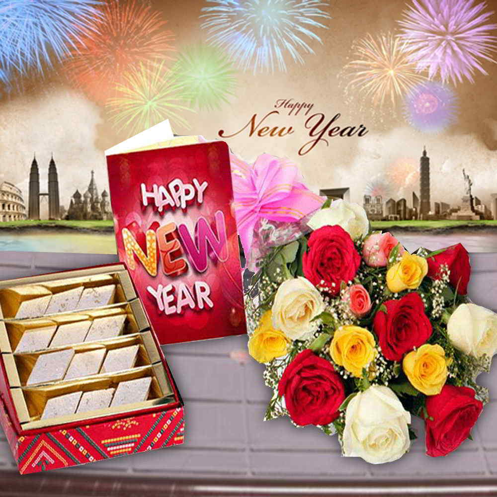 Roses Bouquet with Kaju Katli Sweets and New Year Card
