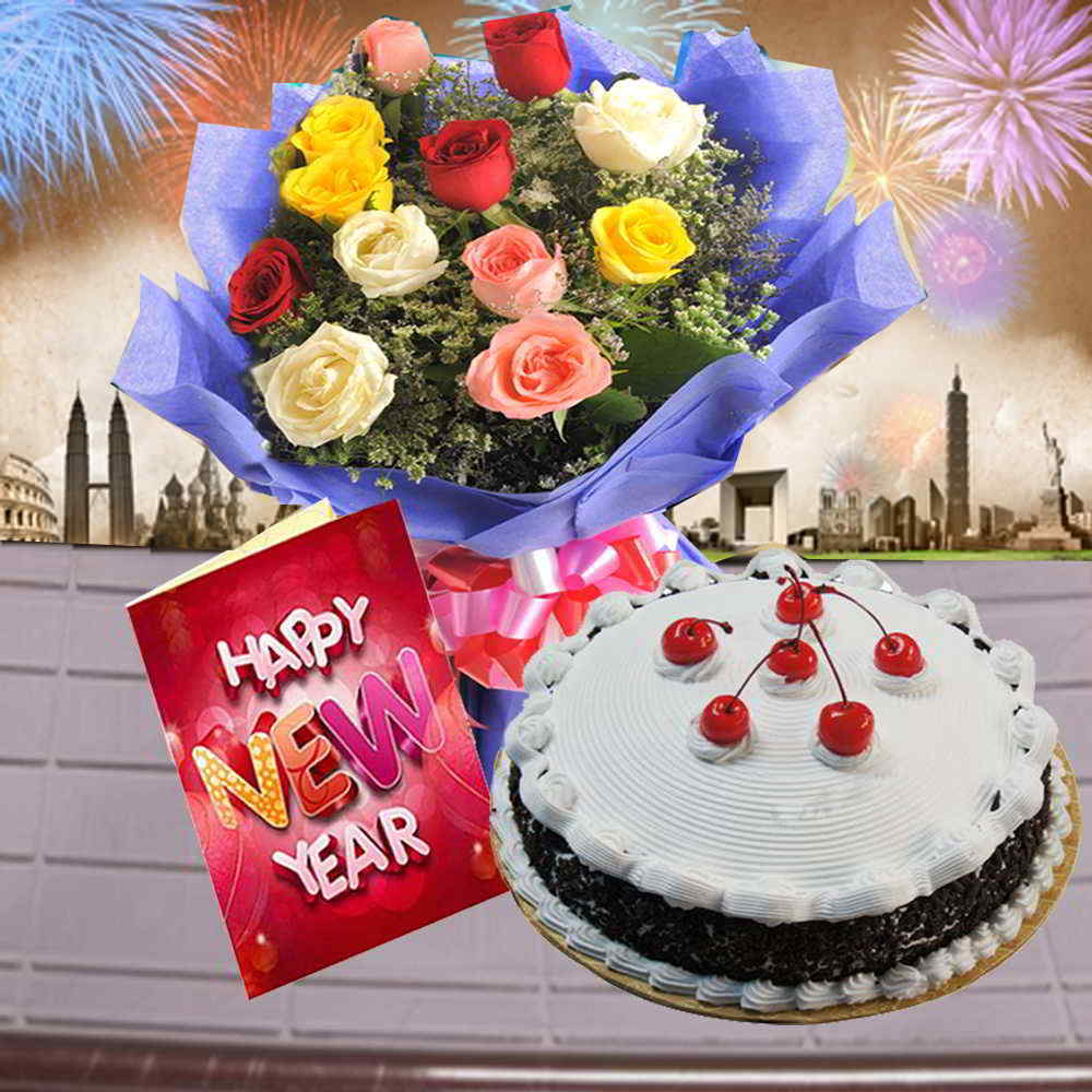 Black Forest Cake with Mix Roses Bouquet and New Year Greeting Card