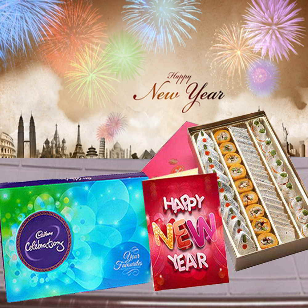 Cadbury Celebration with Assorted Sweets Box and New Year Greeting Card