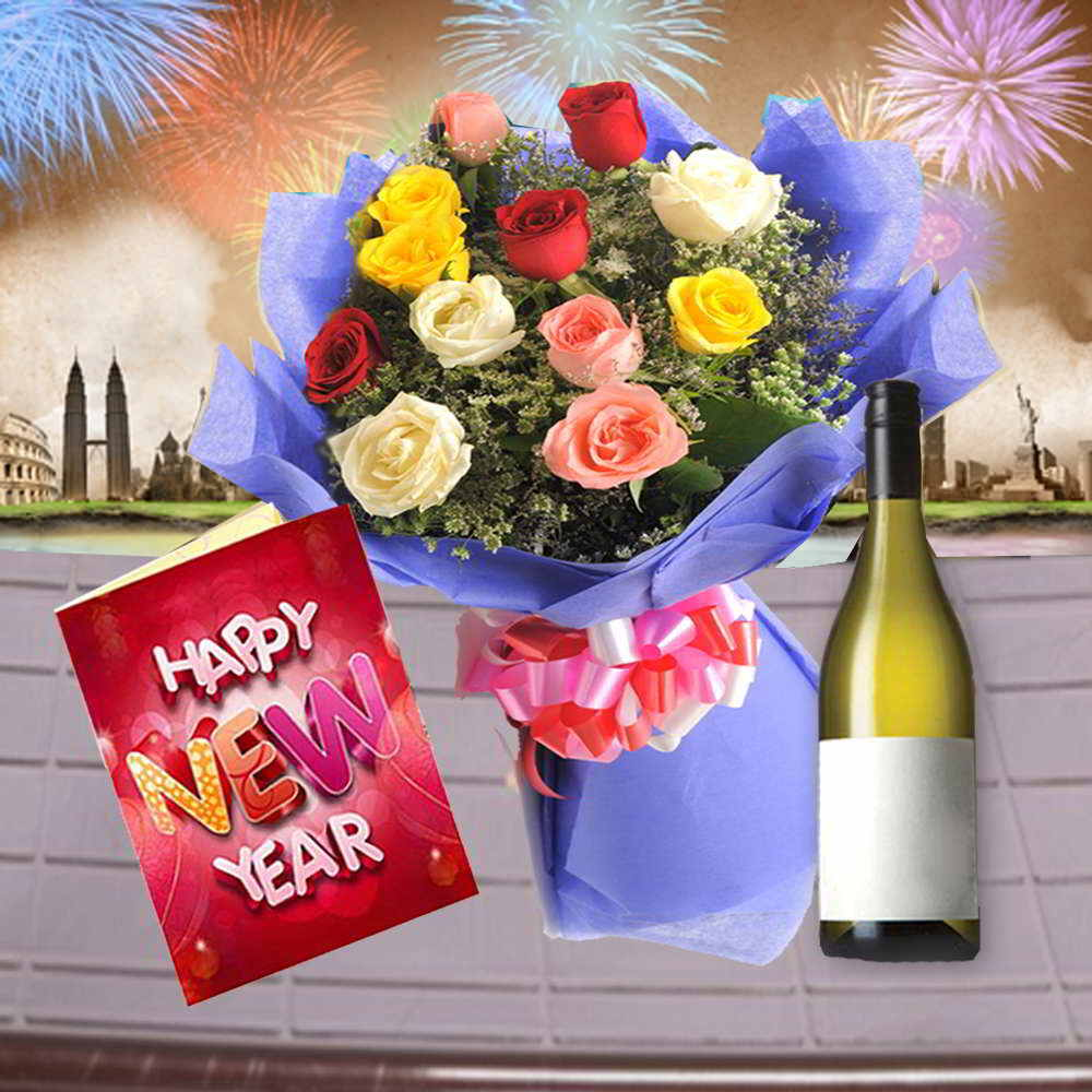 12 Mix Roses Bouquet with Wine and New Year Card