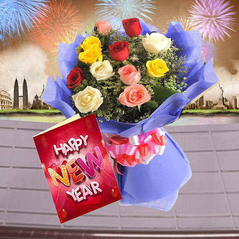 Bouquet of Mis Roses and New Year Greeting Card