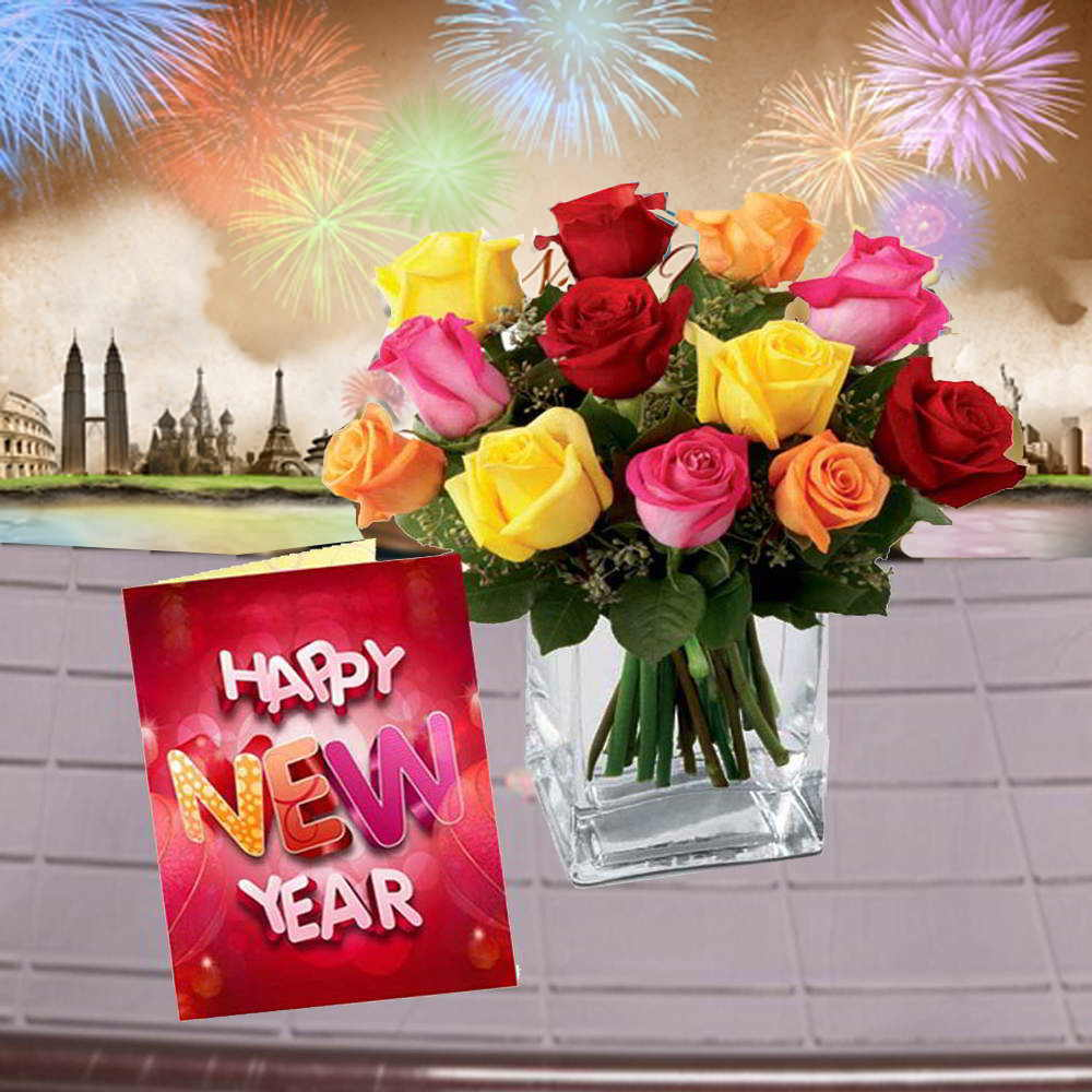 Roses in a Vase with New Year Greeting Card