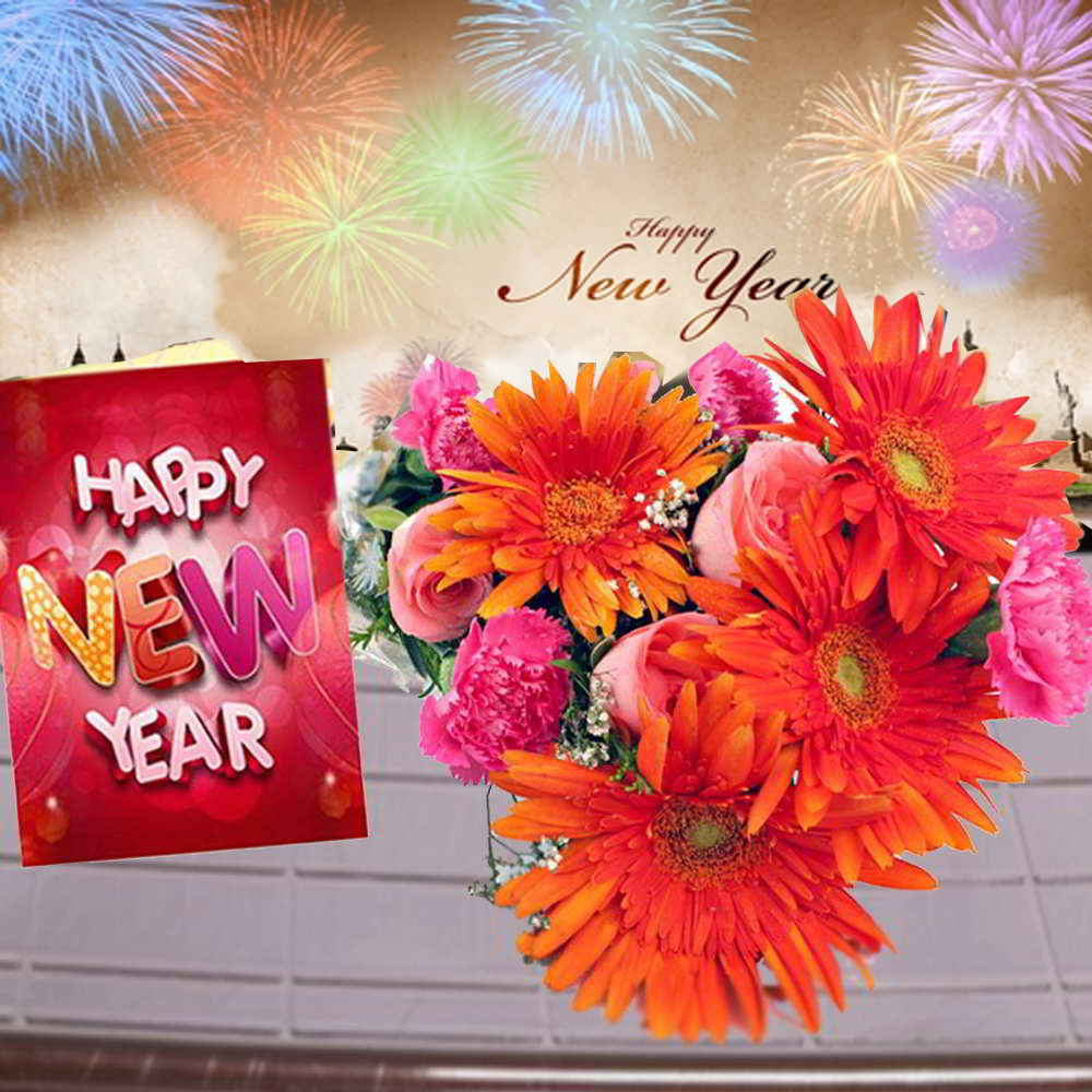 Mix Flowers Bouquet and New Year Greeting Combo