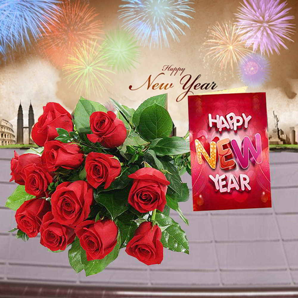 Red Roses Bouquet and New Year Card Combo