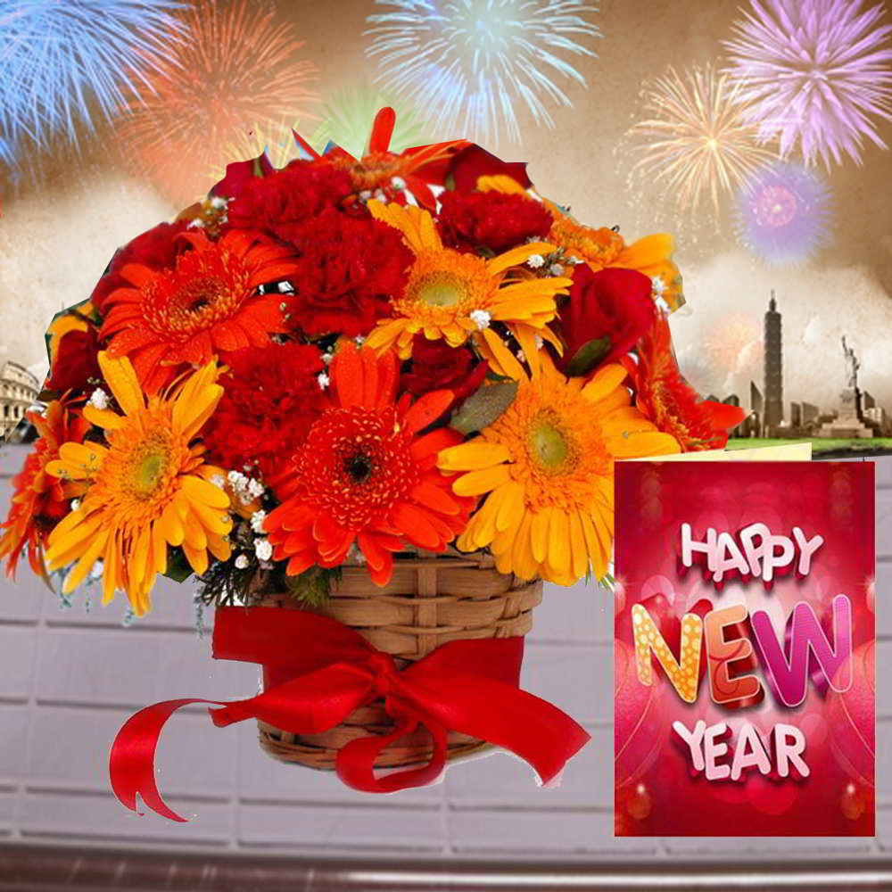 Arrangement of Mix Flowers with New Year Greeting Card