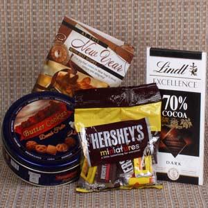 Chocolates & Cookies-Imported Chocolates with Cookies Hamper New Year Gift