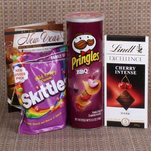 Chocolates & Cookies-Pringle and lindt with Skittle Chocolate for New Year