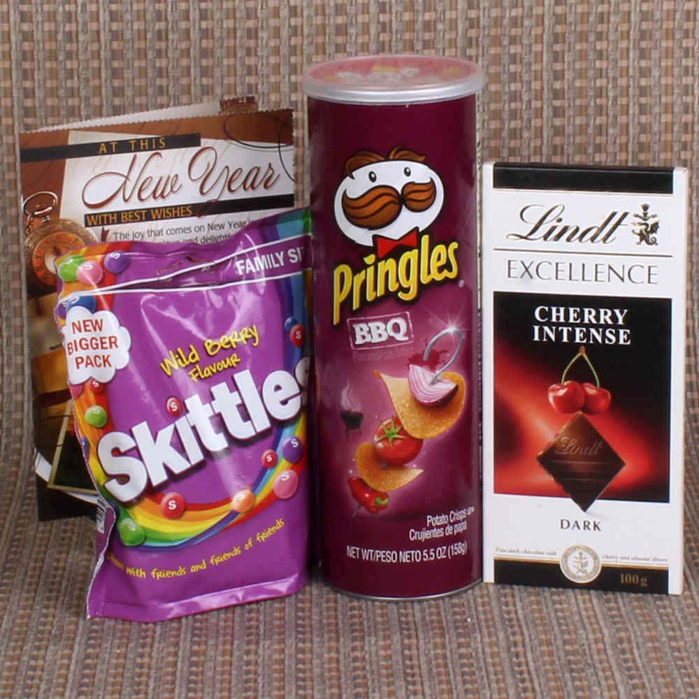 Pringle and lindt with Skittle Chocolate for New Year