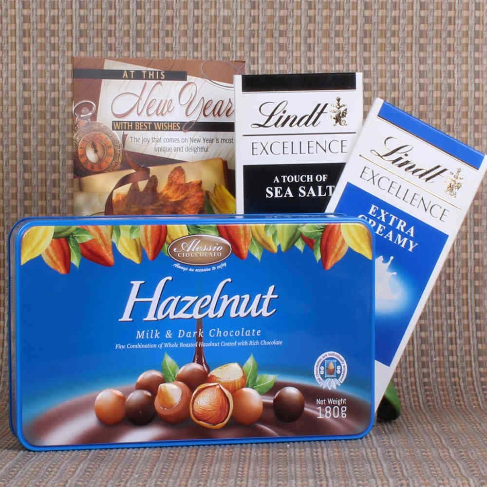 Chocolates & Cookies-Imported Lindt and Hazelnut Chocolates for New Year