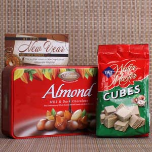 Chocolates & Cookies-New Year Gift of Almond Chocolate and Wafer Chocolate Cubes
