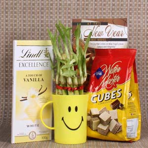 Chocolates & Cookies-New Year Good Luck Gift of Lindt Chocolate and Wafer Cubes