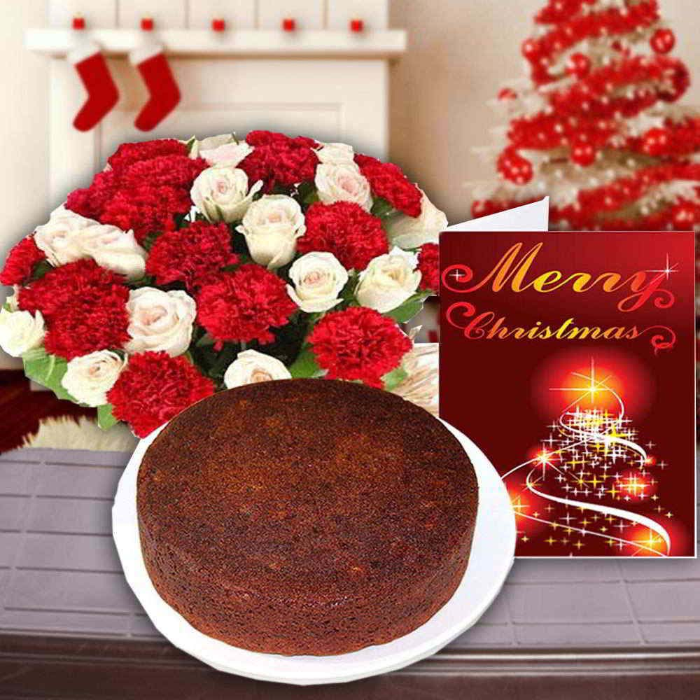 Cake & Flowers-Merry Christmas Card with Cake and Flowers Combo