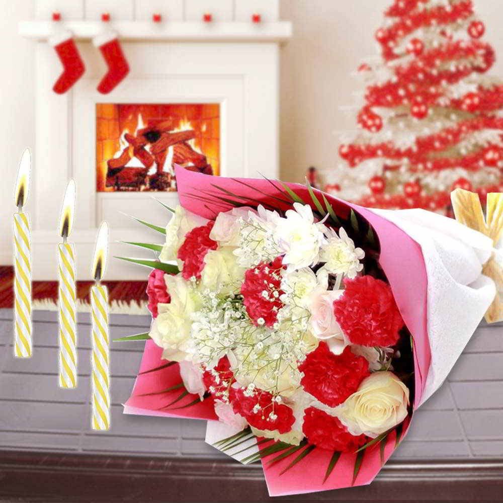 Roses n Carnation Bouquet with Candles Combo for Christmas