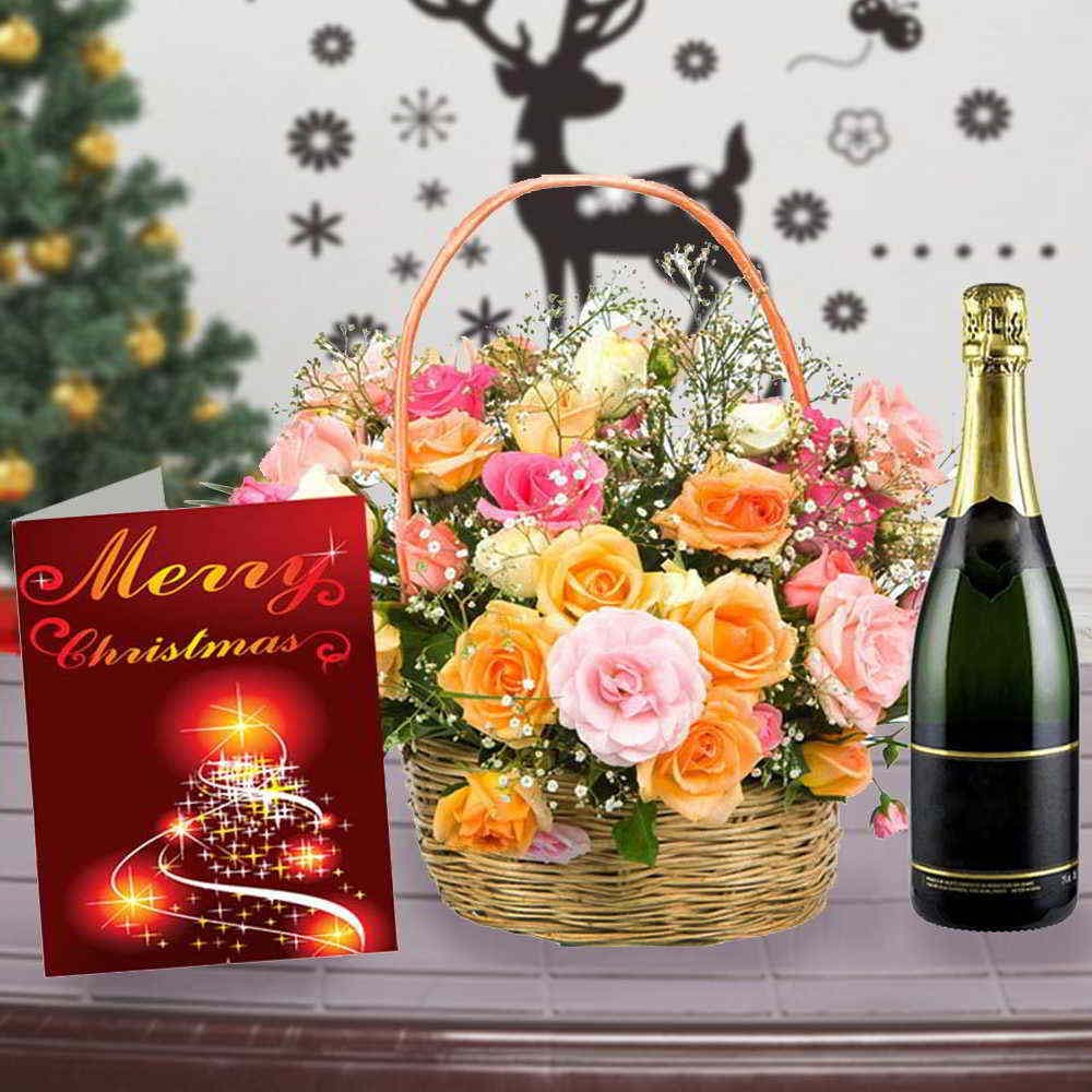 Wine Combos-Roses Arrangement with Wine and Christmas Card Combo