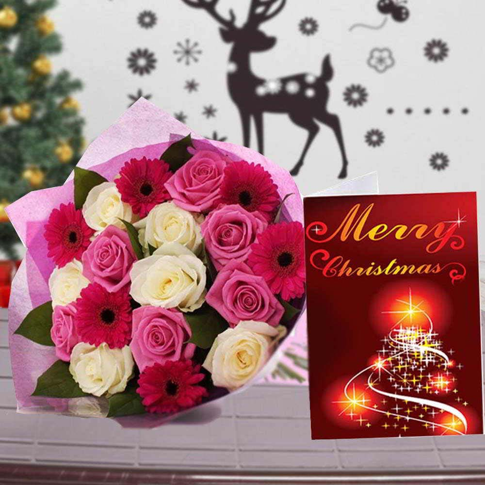 Mix Lovely Flowers Bouquet with Merry Christmas Card