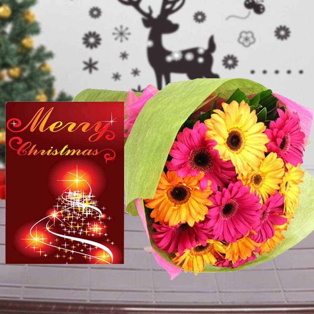 Fresh Flowers-Mix Gerbera Bouquet with Merry Christmas Greeting Card