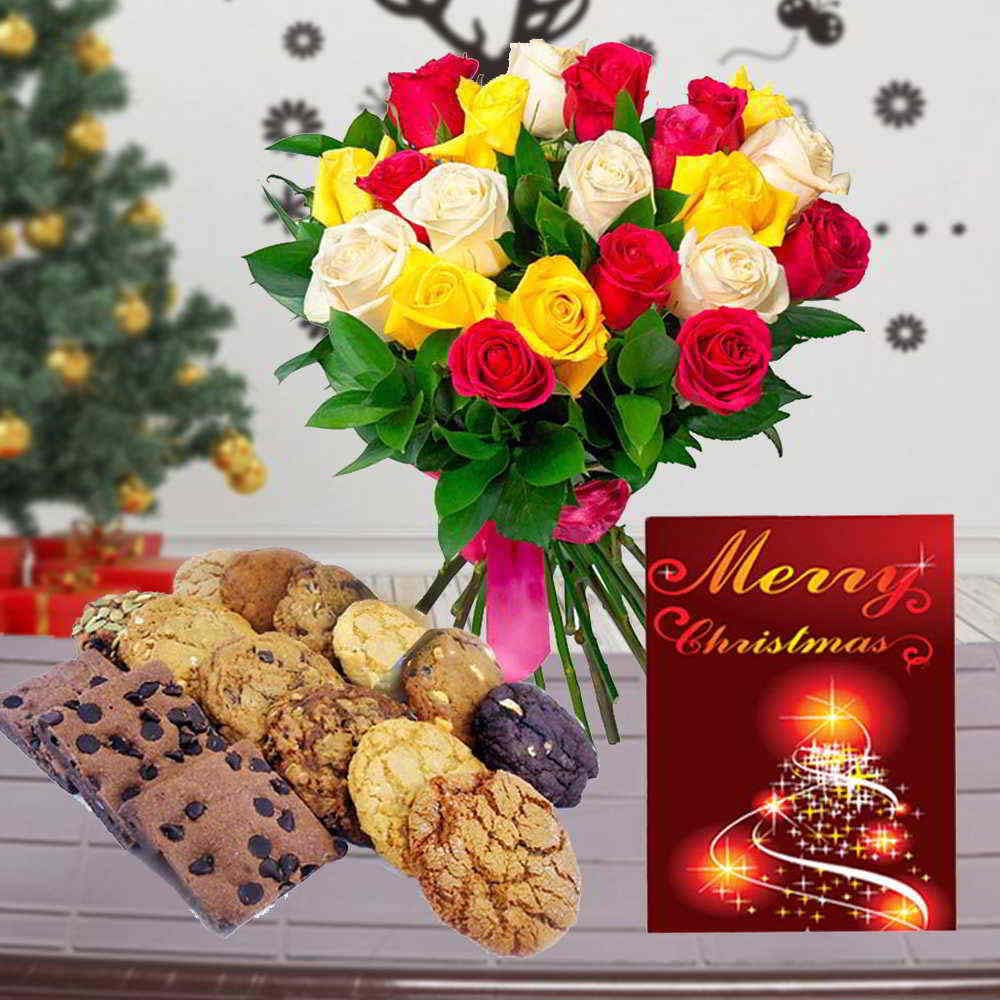 Assorted Cookies with Christmas Card and Mix Roses Bouquet for Christmas
