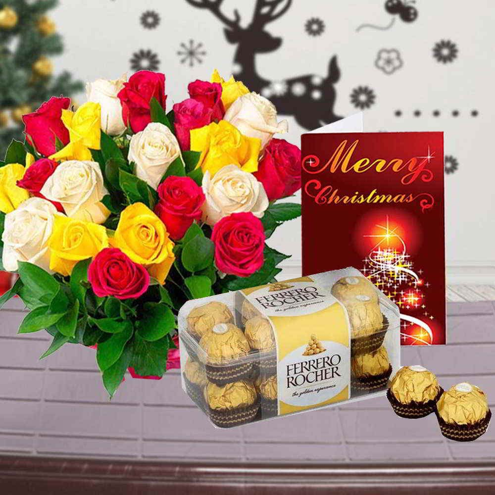 Chocolate & Flowers-Mix Roses Bouquet with Ferrero Rocher Chocolate Box and Christmas Card